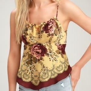Free People Dance All Night Yellow Pink Rose Cami